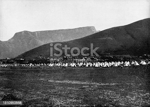 Canadian army camp in Cape Town during the Second Boer War in South Africa. Vintage etching circa 19th century.
