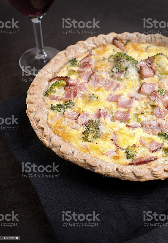 Canadian bacon and broccoli quiche royalty-free stock photo