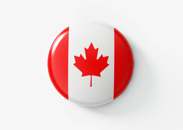 kanadische abzeichen auf weißem hintergrund - kanada rundreise stock-fotos und bilder