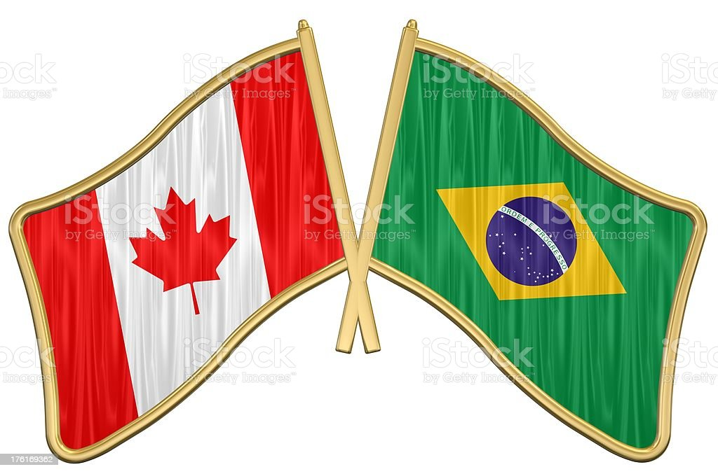 Canadian Brazil Friendship Flag Pin Royalty Free Stock Photo