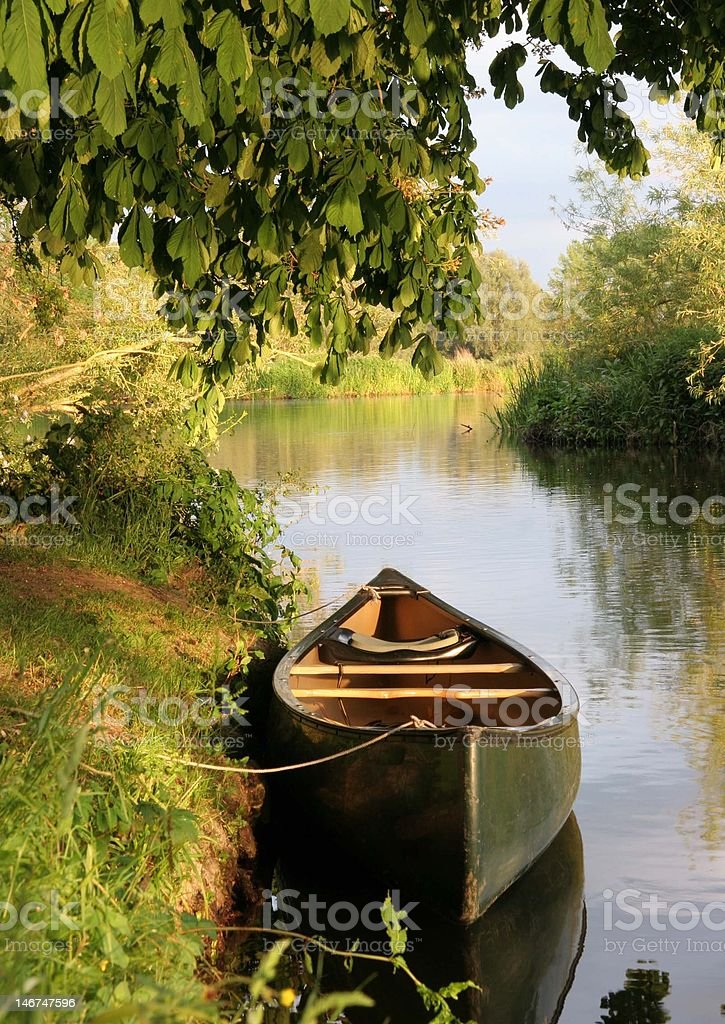 canadian canoe on the thames royalty-free stock photo