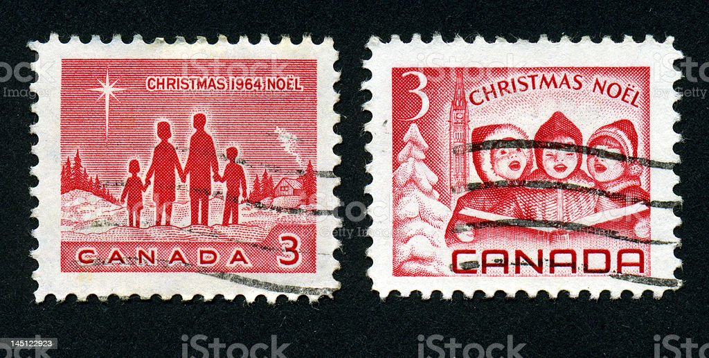 Canadian Christmas Stamps stock photo