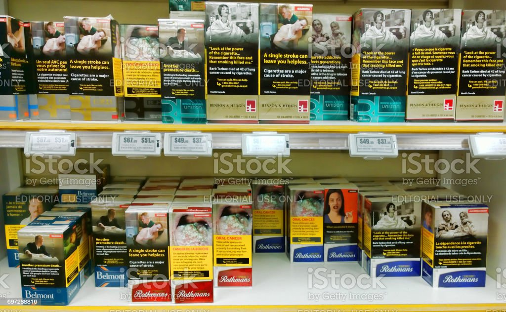 Canadian Cigarette Cartons Stock Photo - Download Image Now - iStock