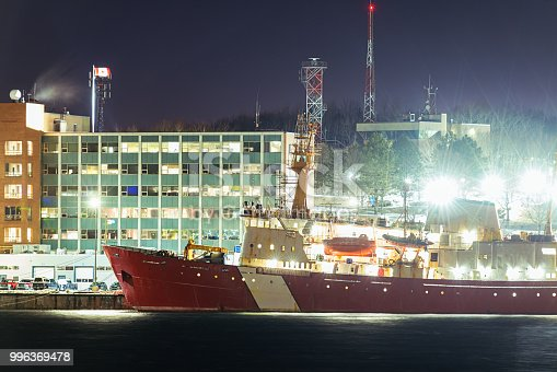 Canadian Coast Guard port in Dartmouth, Nova Scotia.  Long exposure.