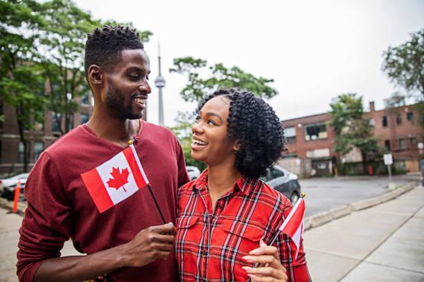 Canadian Couple Celebrating Canada Day stock photo