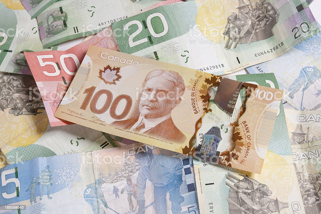 Canadian Currency stock photo