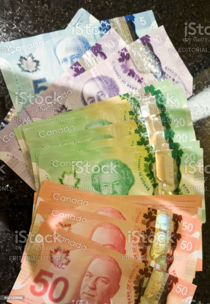 Canadian dollar bank notes currency. stock photo