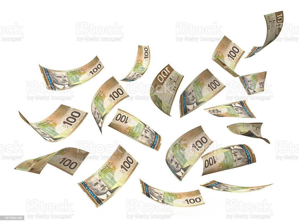 Canadian Dollar Hundred Bills In Air stock photo