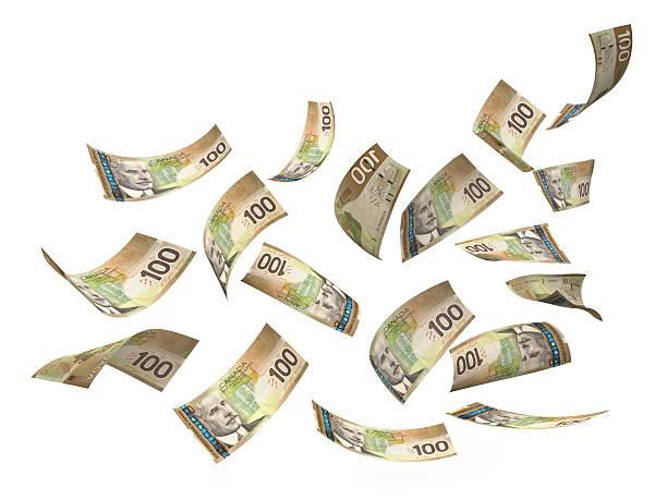 Canadian Dollar Hundred Bills In Air stock photo