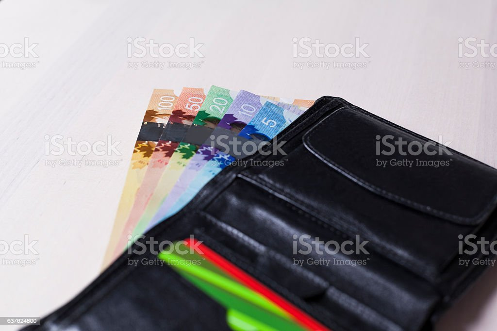 Canadian Dollars in a open black leather wallet