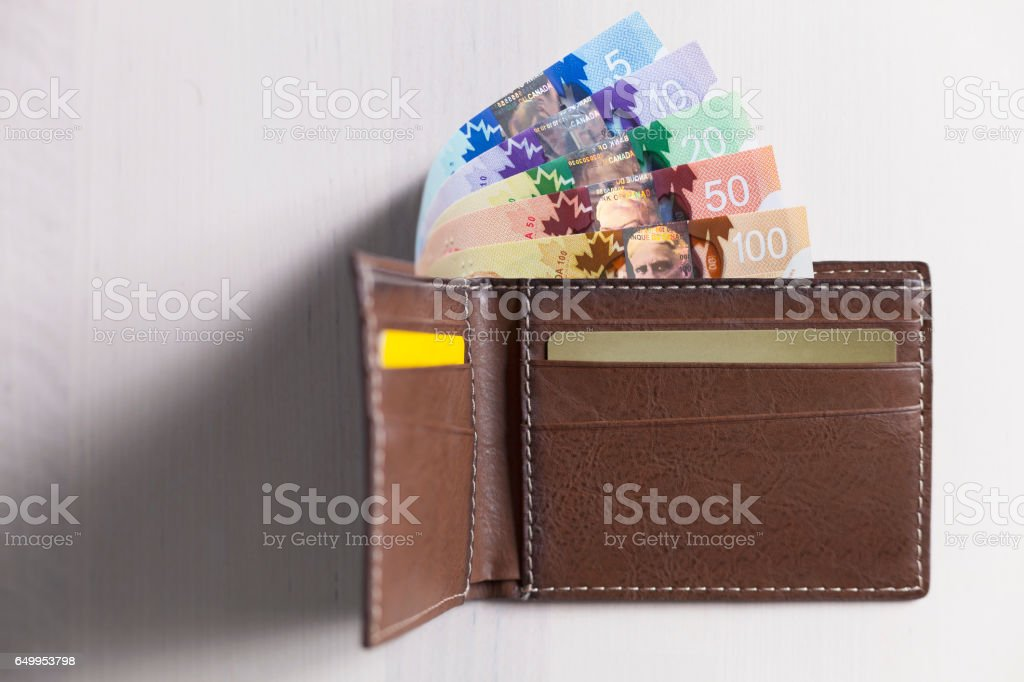 Canadian Dollars and credit cards in brown coloured leather wallet