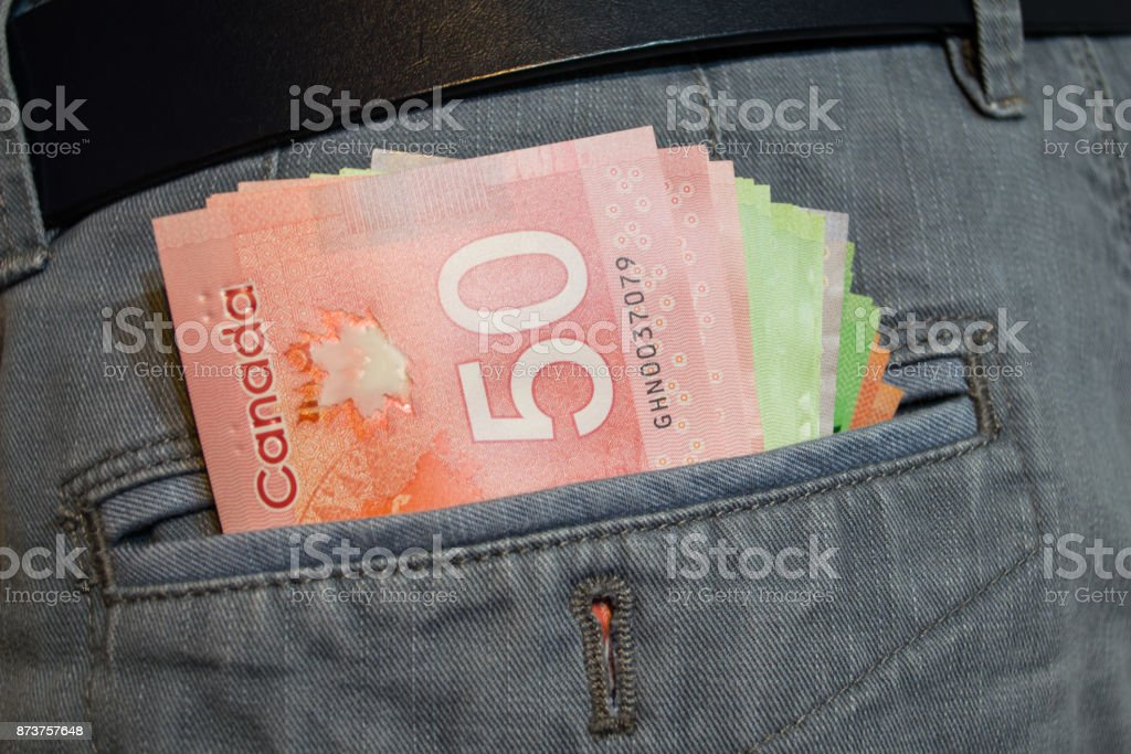 Canadian Dollars In Pocket stock photo