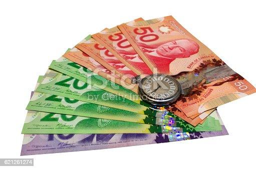 istock Canadian Dollars On White Background 621261274