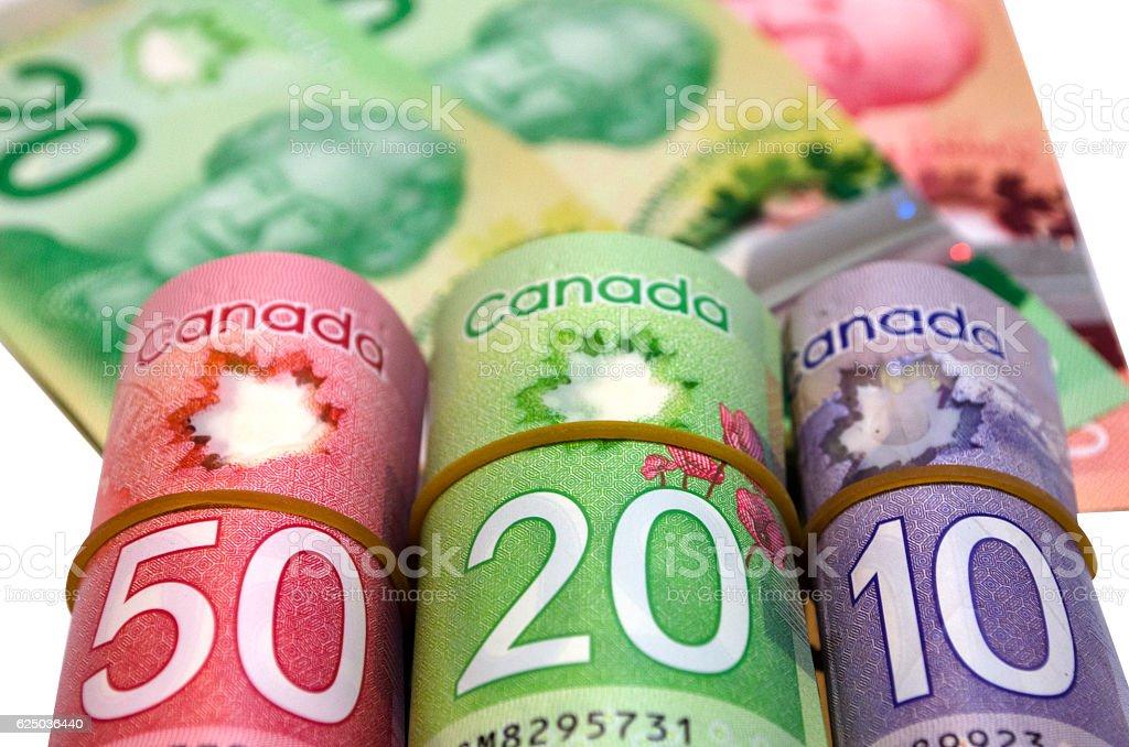 Canadian Dollars White Background stock photo