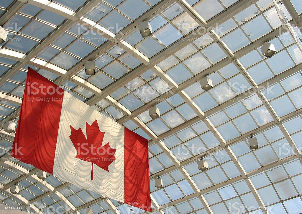Canadian Flag and Glass Roof stock photo