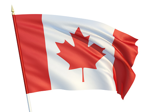 Canadian flag. 3d illustration. Clipping path included.