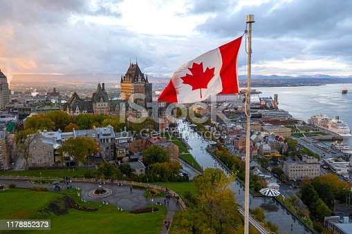 istock Canadian flag flying over Old Quebec City 1178852373