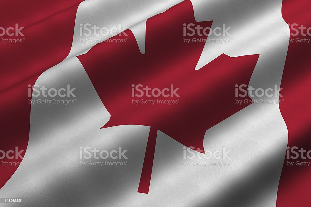 A Canadian flag graphic in the wind stock photo