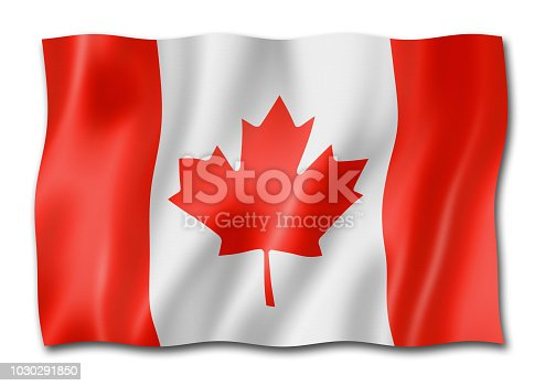 istock Canadian flag isolated on white 1030291850