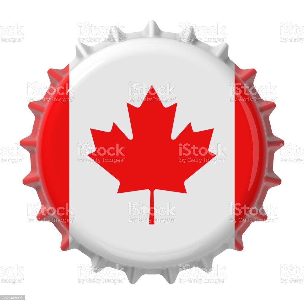 Canadian flag on bottle cap. 3D rendering stock photo