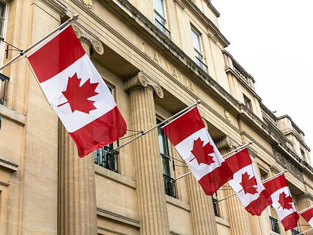 Canadian Flag on Canada House, London stock photo