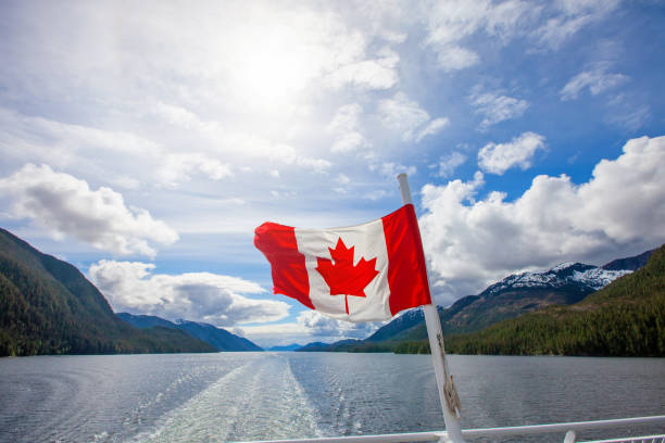 Canadian Flag on the Water stock photo