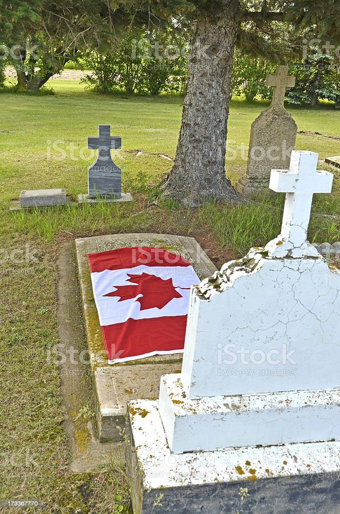 Canadian Flag on Tombstone royalty-free stock photo