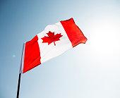Canadian flag waving  against clear blue sky