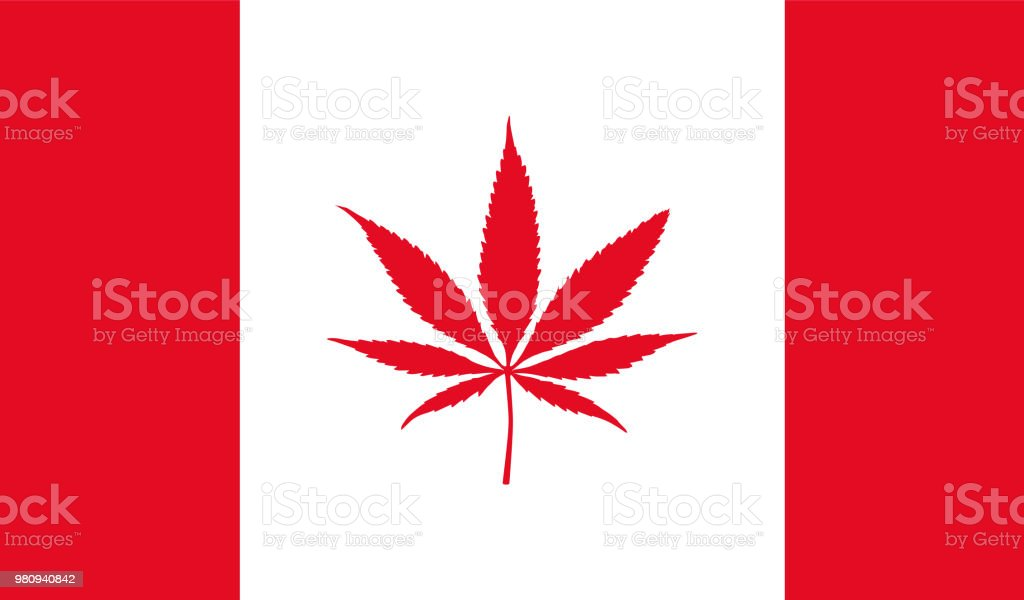 Canadian flag with marijuana leaf stock photo
