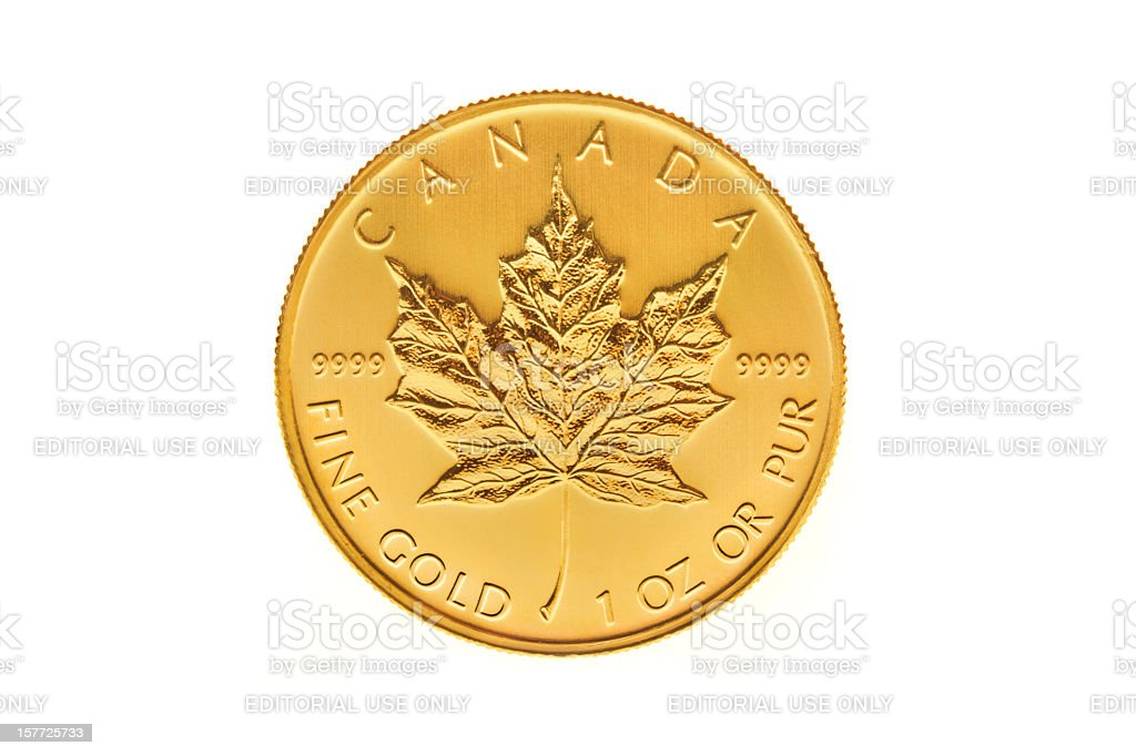 Canadian Gold Maple Leaf Investment Coin stock photo