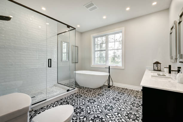 Canadian house in Beaconsfield, Montreal, Quebec, Canada Brand new furnished modern house in Montreal's Beaconsfield bathroom stock pictures, royalty-free photos & images