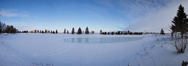 canadian ice skating pond - isvak bildbanksfoton och bilder