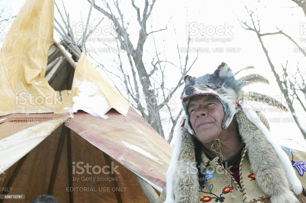 Canadian indian outdoors in winter stock photo