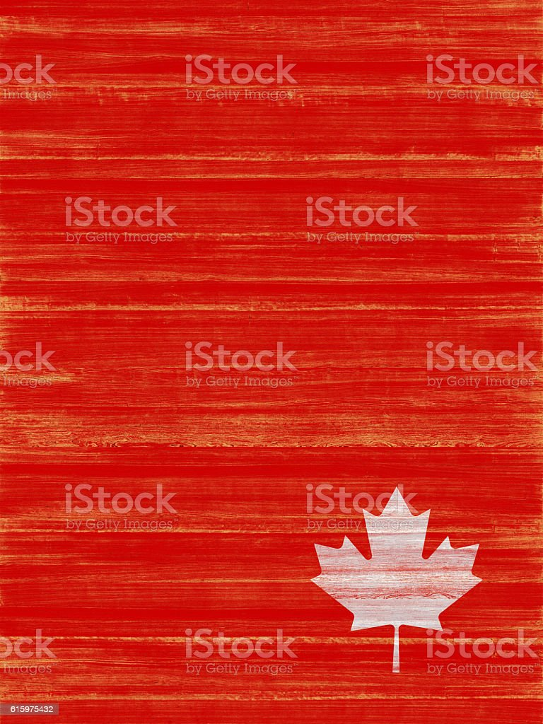 Canadian Maple Leaf Painted on Red Wood stock photo