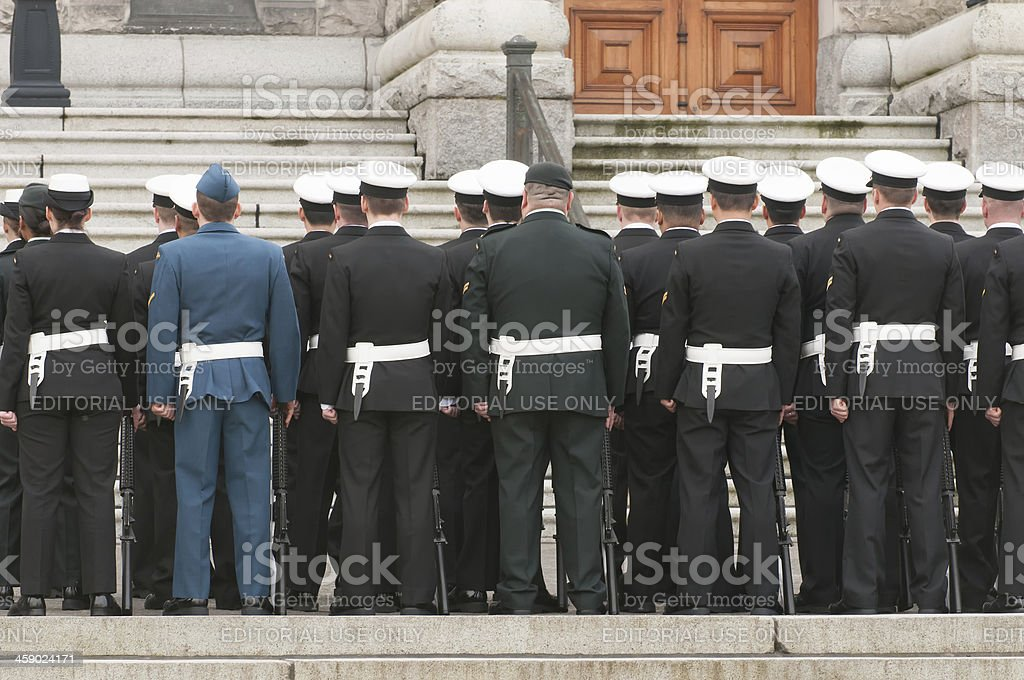 Canadian Military Waiting for Opening of new session, Legislative Assembly royalty-free stock photo