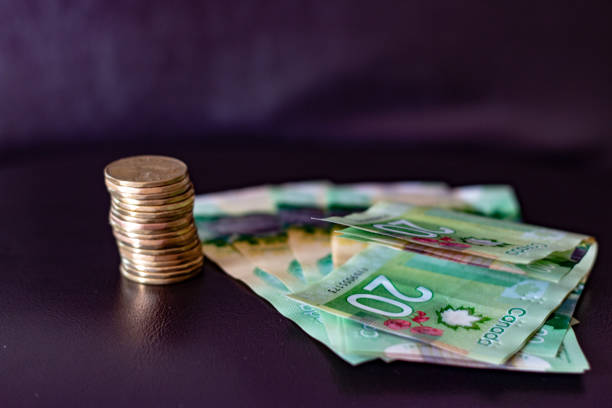 Canadian money and Credit Cards.concept of finance, debt, and money management. stock photo