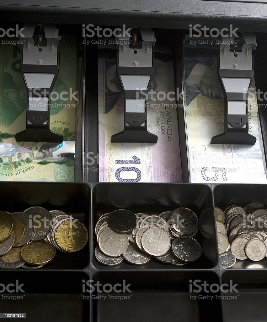 Canadian Money In Drawer royalty-free stock photo