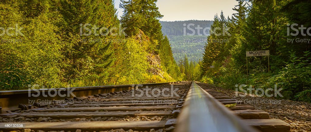 Canadian mountain railroad with a cinematic look stock photo