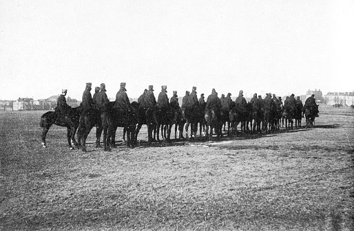 The group of Canadian Mounted Rifles from Halifax, Nova Scotia sent to the 2nd (Special Service) Battalion, Royal Canadian Regiment of Infantry for the Second Boer War in South Africa. Vintage etching circa 19th century.