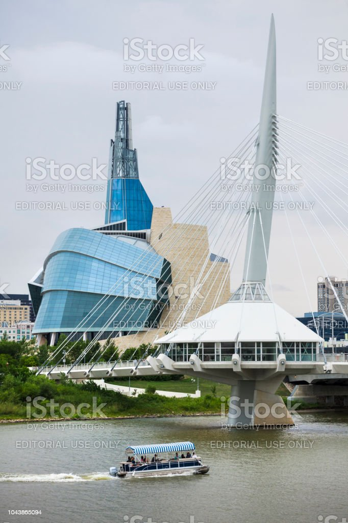 Canadian Museum of Human Rights and Esplanade Riel Bridge in Winnipeg, Manitoba, Canada stock photo