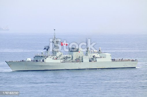 Canadian naval vessel in the sea.