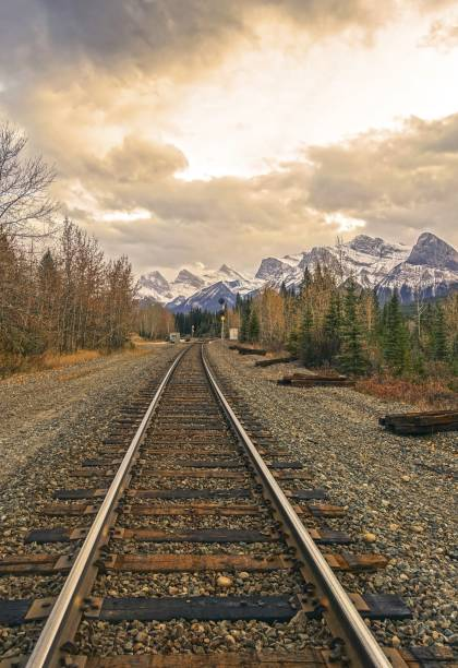Canadian Pacific Railway Line Canmore Alberta Canadian Rockies stock photo