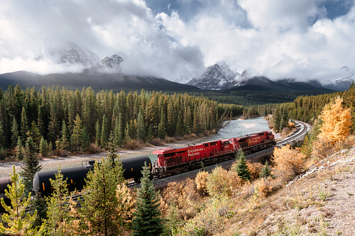 Calgary, Canada - Sep 27 2019 : Scenery of Canadian Pacific Railway passing through autumn valley with Rocky mountains on sunny at Morant's Curve in Banff National Park