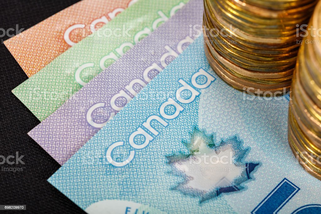 Canadian paper currency stock photo