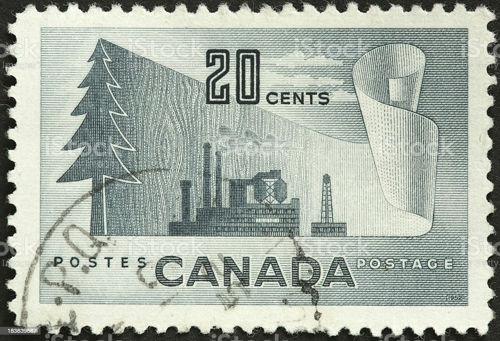 Canadian paper industry commemorated on an old stamp