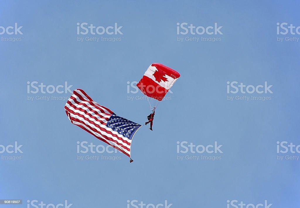 Canadian parachutist with US flag stock photo