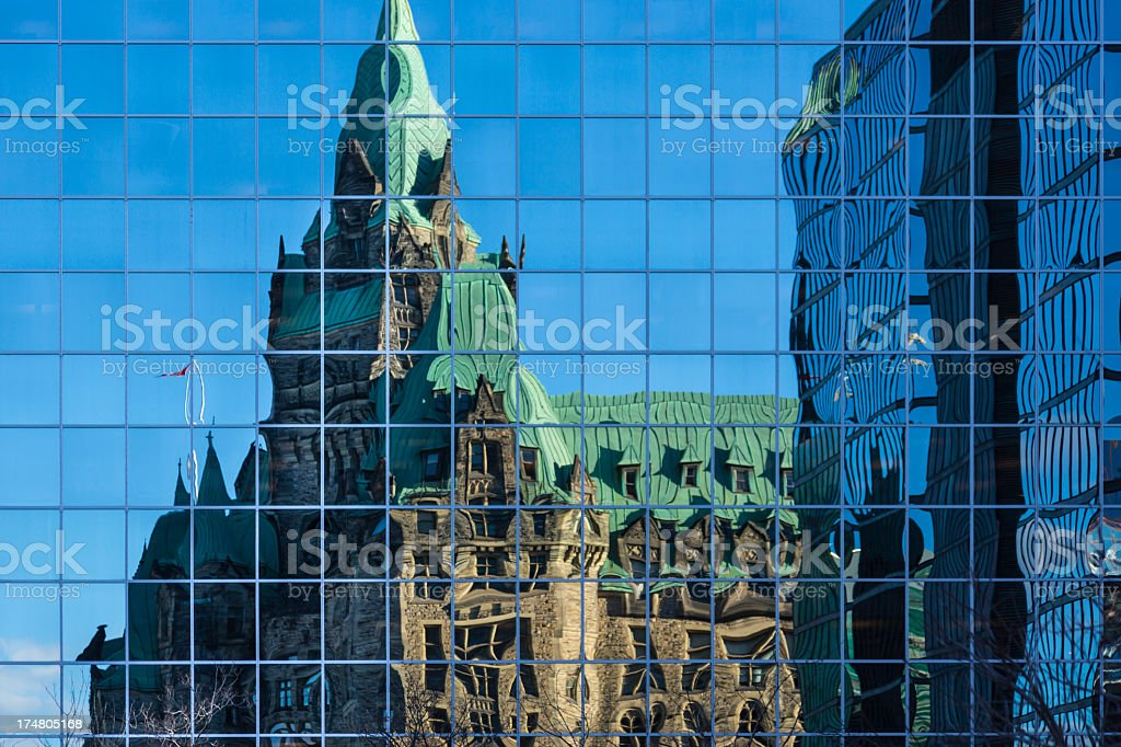 Canadian Parliament House Reflections on Building, Ottawa, Canada royalty-free stock photo