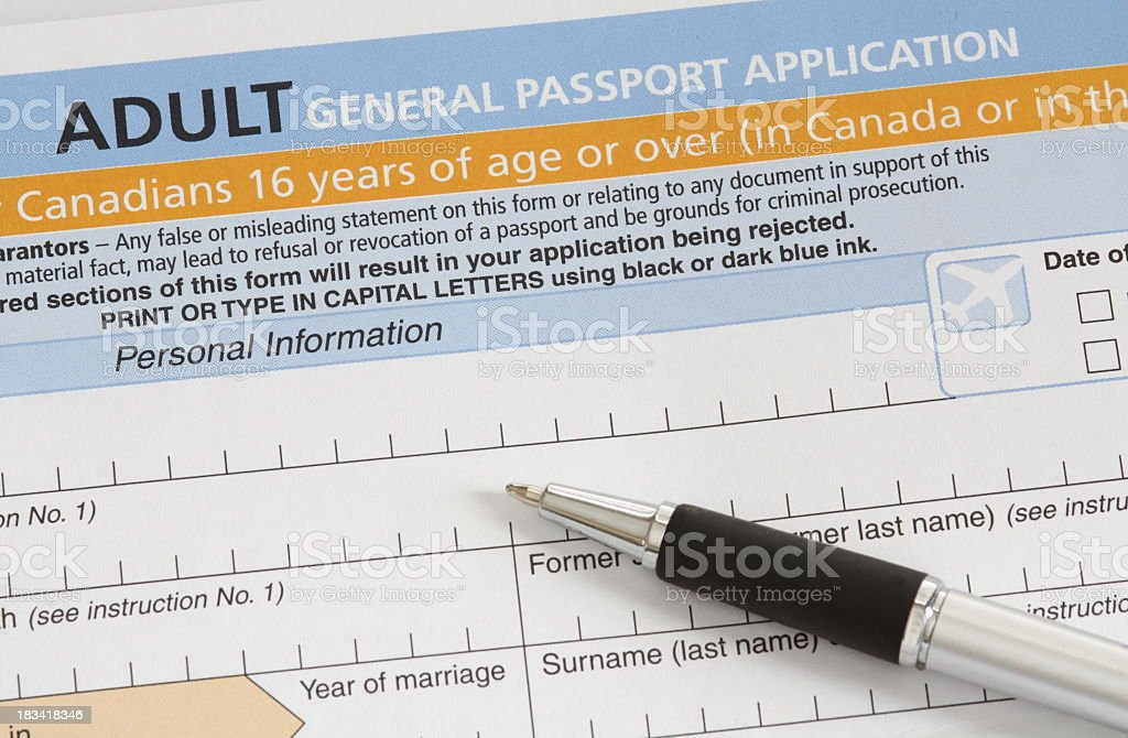 Canadian Passport Application Stock Photo More Pictures Of