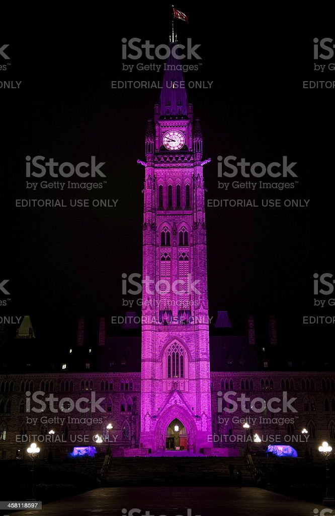 Canadian Peace Tower celebrates Day of the Girl royalty-free stock photo