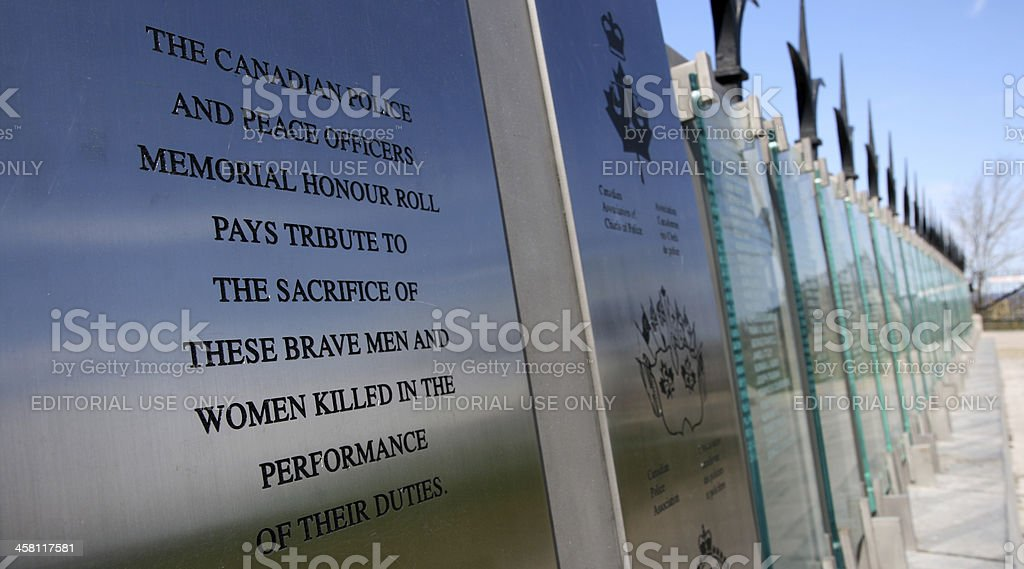 Canadian Police And Peace Officers Memorial stock photo